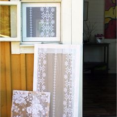 Lace window screens, need to replace my back screen~need to try this, so pretty.