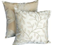Luxury Cream  Throw Pillows, Accent Cushion Cover with Embroidered Shimmering Gold Leaves, Elegant Modern Neutral Home Decor 16x16. $32.00, via Etsy.
