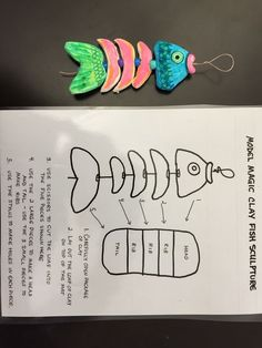 Model Magic Clay hanging fish sculpture using bright highlighter colors, pony beads and wire. Two art blocks to complete with fourth grade.:
