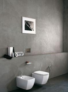Banheiro moderno totalmente decorado com cimento queimado