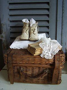 Antique basket, shoes, lace