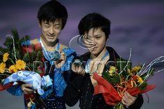Awards ceremony for winners at Junior Grand Prix of Figure Skating in Barcelona