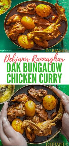 Dak Bungalow Chicken Curry aka Chicken Dak Bungalow is a Bengali style chicken curry cooked with basic spices along with egg and potato. Veg Recipes, Curry Recipes, Indian Food Recipes, Chicken Recipes, Cooking Recipes, Ethnic Recipes, Bangladeshi Food, Bengali Food, Iranian Food