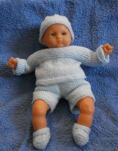 Habits poupée 36 cm - robe pastel classique en coton bleu et vichy