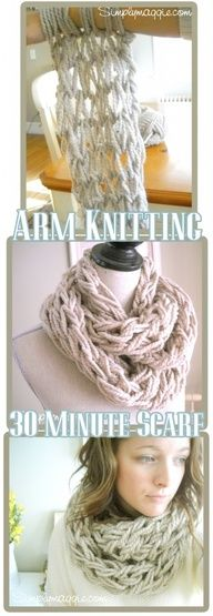 Knit a quick chunky cowl with your arms and no needles! Watch the how-to video on Simply Maggie.  Great for Wool-Ease Thick  Quick yarn.