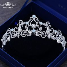 OKOUFEN Twinkling Crystal Rhinestone Jewelry Wedding Crowns and Tiaras 2018 Princess Baroque Hair Headpieces Pageant Bridal
