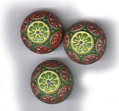 vintage glass cabochons loose cabochon hand painted japanese green art glass design THREE cabochons by beadtopiavintage on Etsy
