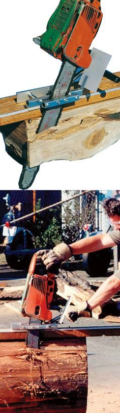 The mini mill attaches to your chain saw to convert log into timber or lumber. Perfect for projects around the house!