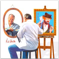 examiner article/red-skelton-paintings-showcased-at-new-museum-vincennes-indiana - the King of comedy. Red Skelton Paintings, Vincennes Indiana, Skeleton Photo, Clown Paintings, Art Paintings, Great Comedies, Send In The Clowns, Clowning Around, People Of Interest