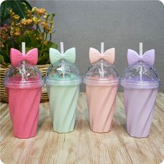 Butterfly Knot Candy Color straw twisted road Cute Plastic Sports Water Bottle For Outdoor Camping Sports Drinking Bottles Cheap Water Bottles, Baby Bottles, Drink Bottles, Kawaii, Tortas Low Carb, Pyjamas Party, Girls Party, Reusable Coffee Cup, Cute Cups