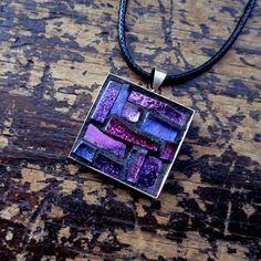 Purple and Fuschia Mosaic Pendant by nutmegdesigns