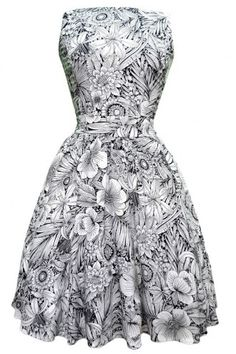 Lady Vintage Elegant Floral Sketch Tea Dress