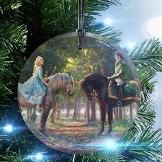 Trend Setters Disney Thomas Kinkade (Cinderella - Romance Awakens) StarFire Prints Glass Hanging Ornament
