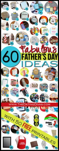 The Fathers Day JACKPOT!  50 fun FREE Fathers Day printables PLUS 10 more rockin gift ideas.  Hmmm... a lot of these could work for his birthday too.  Gotta pin it!  www.TheDatingDivas.com #fathersday #freeprintables #giftsforhim