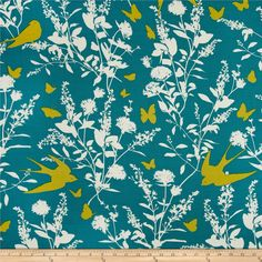 Joel Dewberry Bungalow Rayon Challis Swallow Study Teal from @fabricdotcom  Designed by Joel Dewberry for Free Spirit, this printed rayon challis fabric has a beautiful fluid drape and soft hand. It is perfect for creating shirts, blouses, gathered skirts and flowing dresses with a lining. Colors include cream, lime and teal.