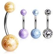 316L Surgical Steel Navel Ring with Flower Printed Balls