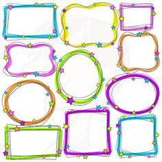 Doodle Borders Digital Doodle Drawing Art Frames Scrapbook Supplies Clip Art Clipart Decorative Labels Tags School Teachers Crafters 10269