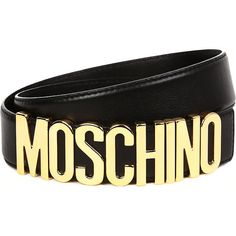 Moschino Logo belt ($190) ❤ liked on Polyvore featuring accessories, belts, moschino, genuine leather belts, logo belts, moschino belt and studded belt