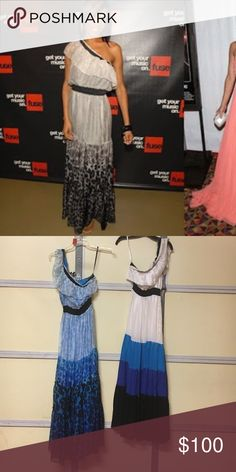 Bebe one shoulder ruffle maxi s Both new there are two colors the leopard print and the color block bebe  Dresses Maxi