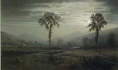"""william trost richards - """"moonlight on mount lafayette, new hampshire"""", 1873, watercolor, gouache, and graphite on green wove paper"""