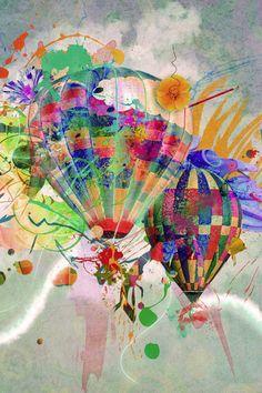 Hot air balloons wallpaper for iPad Abstract Iphone Wallpaper, Free Iphone Wallpaper, Balloon Illustration, Illustration Art, Caricatures, Hot Air Balloon, Balloon Race, Water Balloons, Illustrations