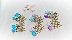 Mermaid Hair Combs Set of 2 Hair Clips Boho Wedding Starfish