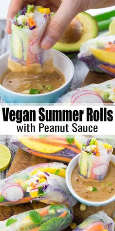 Vegan Summer Rolls with Peanut Sauce These rice paper rolls with mango and mint are the perfect light dinner for hot summer days. They're healthy, fresh, low in calories, and super delicious! I love serving them with an easy peanut dipping sauce. Vegan Dinner Recipes, Vegan Recipes Easy, Whole Food Recipes, Vegetarian Recipes, Cooking Recipes, Easy Vegan Dishes, Snacks Recipes, Light Recipes, Grilling Recipes
