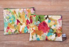 Painterly print make up bag, pencil case, zip pouch, bag organiser, travel pouch Fabric Design, Print Design, Beautiful Gifts, Pouch Bag, Great Gifts, Handmade Items, Pencil, Make Up, Sewing
