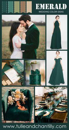 Emerald Wedding Colors, Emerald Green Weddings, Fall Wedding Colors, Wedding Color Schemes, Popular Wedding Colors, Space Wedding, Dream Wedding, Wedding Venue Inspiration, Wedding Ideas
