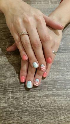 Shellac summer nail art! #coral #blue #nailart #arrows #chevron - nailsbyailesh
