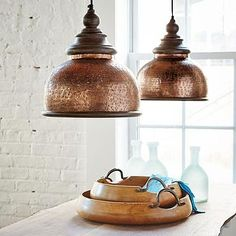 """Corey - I'm not looking to use pendant lights in the kitchen, but this is the """"feel"""" - warm, cozy. Shed a vintage light on your home's décor with the Micah Pendant; finished in brilliant copper and adorned with a rich wooden trim. Copper Light Fixture, Copper Pendant Lights, Copper Lighting, Hanging Light Fixtures, Vintage Lighting, Home Lighting, Pendant Lamps, Lighting Ideas, Light Pendant"""