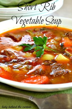 Today we're serving up a big hot steaming bowl of vegetable soup made with short ribs. You're on your own with this one. I don't have exact amountson so