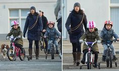 Princess Mary spends quality time with Princess Josephine and Prince Vincent as they bike ride (with their dog Ziggy running alongside).
