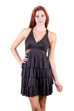 YO YO 5 Dotted Slinky Multi Tiered Criss Cross Back Lightly Padded Cups Top Sheer Dotted Lace Netting Accent Sides And Back Dress Black …, http://style-smilez.tumblr.com/post/43329296384/yo-yo-5-dotted-slinky-multi-tiered-criss-cross-back , Pinned by http://pinterest.com/pinterestfella