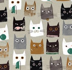 A big collection of funny cat art and illustration for animal art lovers. I wish cats really walked around like this in real life. Textures Patterns, Print Patterns, Loom Patterns, Motifs Textiles, Photo Chat, Cat Pattern, Pattern Ideas, Pattern Art, Pattern Design