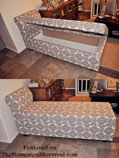 Chaise Lounge with Hidden Storage from Wood Pallets. at least it can be used for something instead of taking up space ;)