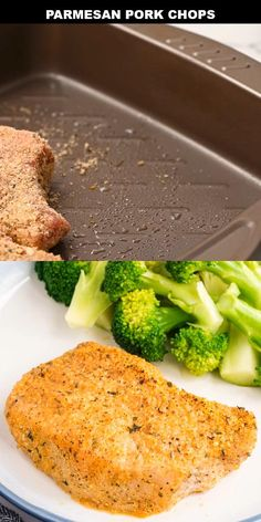These Parmesan pork chops are crispy, cheesy, and quick to make. They're breaded in a flavorful mix of seasonings, parmesan cheese, and breadcrumbs and then baked in the oven. Breaded Pork Chops Oven, Easy Baked Pork Chops, Best Fried Pork Chops, Oven Cooked Pork Chops, Fried Boneless Pork Chops, Baked Parmesan Pork Chops, Easy Pork Chop Recipes, Pork Recipes, Cooking Recipes