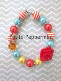 Little Girls Chunky Necklace, Girls Bubblegum Chunky Necklace, Hot Pink Chunky necklace,Girls Bubble Gum Bead Necklace,Children Necklace. by PetitePeppermint on Etsy