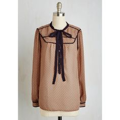 Boho, Scholastic Mid-length Long Sleeve Intellectual Intrigue Top (139.835 COP) ❤ liked on Polyvore featuring tops, blouses, apparel, long sleeve woven, tan, woven top, polka dot tie neck blouse, boho tops, long sleeve sheer blouse and tie neck blouse