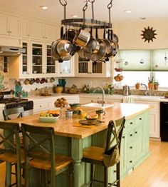 Green Kitchen for a House Made of Straw   Country Kitchens — Country Woman Magazine