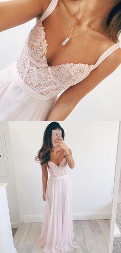Dressywe Elegant A-line V-neck Long Chiffon Baby Pink Long Prom Dress Evening Dress