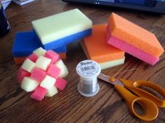 Sponge balls, do the dishes? Have a water fight? Dental floss and Dollar store sponges, el cheapo craft.... great for math for home schooled (division), also great to sponge paint with.