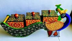 Amaze your guests by serving in this beautiful handicraft dry fruit box with the royal Rajasthani look. This vibrant colored peacock shaped dry fruit box with elegant design and graceful look can also be used as a jewelry box or a home decor item. Summer Arts And Crafts, Arts And Crafts For Adults, Easy Arts And Crafts, Arts And Crafts House, Crafts For Seniors, Arts And Crafts Projects, Diy Crafts, Diwali Decoration Items, Thali Decoration Ideas
