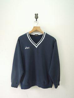 Vintage Asics Minimalist Sweatshirt Casual by RetroFlexClothing