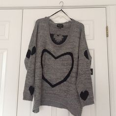 Chunky heart sweater Gray with black hearts size 3x could fit 1-2x for oversized sweater look. new with tags Sweaters