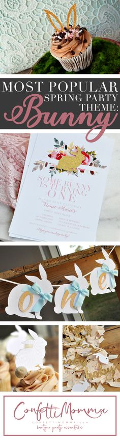 We're very excited to share with you this year's most popular Spring party them: Bunny! Some bunny is turning one! Bunny invitations, confetti, cake toppers and all of your premium bunny party decorations from Confetti Momma