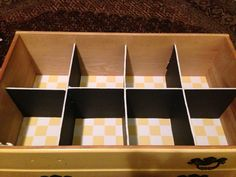 DIY Drawer Dividers - foam board $1 each at dollar store; requires 2 boards per drawer.  Cheap & sturdy.