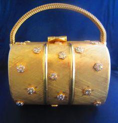 Vintage 70s Gold Metal and Rhinestone Handbag by BestofBessVintage, $327.00