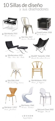 diez sillas de diseño y sus diez diseñadores : via lovhom. Furniture Styles, Cool Furniture, Modern Furniture, Furniture Design, Furniture Inspiration, Design Inspiration, Design Ideas, Poltrona Design, Bauhaus Design