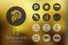 12 Singapore icons by Palau on Creative Market